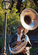 Man Photos - Tuba Playing in Jackson Square New Orleans Impasto by Kathleen K Parker