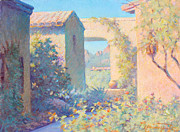 Arizona Artists Paintings - Tubac Village Center by Ernest Principato