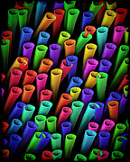 Tube Digital Art Metal Prints - Tubes of Color Metal Print by Kurt Van Wagner