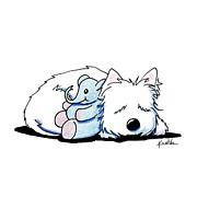 Terrier Dog Drawings Framed Prints - Tuckered Out Framed Print by Kim Niles