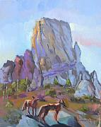 Southwest Art Paintings - Tucson Butte with two coyotes by Suzanne Giuriati-Cerny
