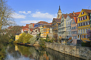 City Scape Metal Prints - Tuebingen Neckarfront with beautiful old houses Metal Print by Matthias Hauser