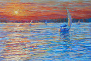 Sunset Seascape Pastels Posters - Tuesdays End Poster by Michael Camp