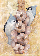 Titmouse Paintings - Tufted Titmouse and Garlic by Darlene Fletcher