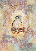 Framed Bird Prints Painting Prints - Tufted Titmouse Print by Darlene Fletcher