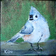 Titmouse Paintings - Tufted Titmouse by Kipu Aka Kate Zamarchi