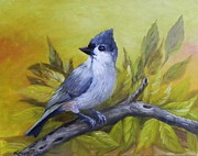 Titmouse Paintings - Tufted Titmouse by Laura Brown