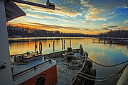 Tugboat Prints - Tug at sunrise Print by Everet Regal