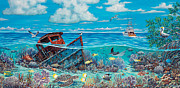 Green Sea Turtle Painting Prints - Tug Boat Reef Print by Danielle  Perry