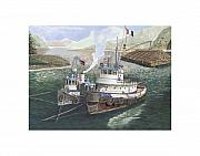 Boats In Harbor Posters - Tug boats anchored in Safe Harbor Poster by Jack Pumphrey