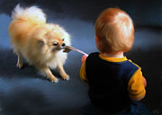Baby Playing Art Print Prints - Tug of War Print by Shere Crossman
