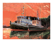 Cruising Paintings - Tugboat Adak  Red Sky Warning by Jack Pumphrey