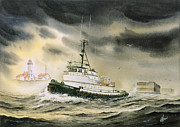 Nautical Print Painting Originals - Tugboat AGNES FOSS by James Williamson