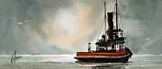 Maritime Framed Print Prints - Tugboat Dawn Print by James Williamson