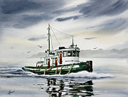 Nautical Print Painting Originals - Tugboat ELAINE FOSS by James Williamson
