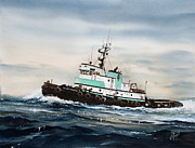 Island Painting Originals - Tugboat ISLAND CHAMPION by James Williamson