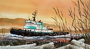 Artist James Williamson Fine Art Prints Prints - Tugboat ISLAND CHAMPION Sunset Print by James Williamson