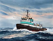 Artist James Williamson Fine Art Prints Prints - Tugboat NORMAN S Print by James Williamson