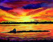 Mississippi River Painting Originals - Tugboat On The Mississippi by Karl Wagner