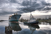 Morning Prints - Tugboat Pulling a Cargo Ship Print by Olivier Le Queinec