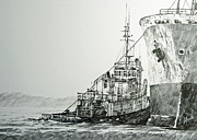 Nautical Print Drawings - Tugboat RICHARD FOSS by James Williamson