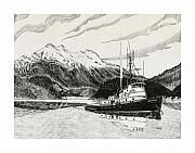 Framed Prints Drawings - Tugboat Skagit Chief by Jack Pumphrey