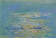 Barges Posters - Tugboats on the River Thames Poster by Claude Monet