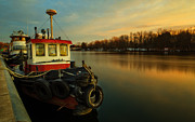Sunrise River Framed Prints - Tugs at sunrise Framed Print by Everet Regal