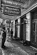 French Doors Framed Prints - Tujagues Restaurant French Quarter black and white charcoal Framed Print by Kathleen K Parker