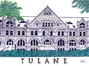 Famous University Buildings Drawings Art - Tulane by Frederic Kohli