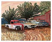Country Art Drawings Prints - Tularosa Motors Print by Jack Pumphrey
