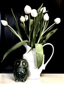 Owl Print Prints - Tulip Bouquet and Owl Print by Marsha Heiken