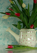 Leader Prints Framed Prints - Tulip Bouquet in Watering Can Framed Print by Inspired Nature Photography By Shelley Myke