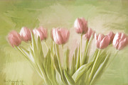 Pinks And Greens Framed Prints - Tulip Bouquet Framed Print by Linda  Blair