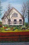 Picturesque Painting Prints - Tulip Cottage Print by Martin Howard
