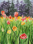 San Francisco Painting Metal Prints - Tulip Garden in San Francisco Metal Print by Irina Sztukowski