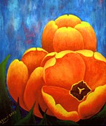 Colorful Floral Gardens Paintings - Tulip Painting by Annie Zeno