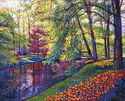 Gardenscape Paintings - Tulip Park by  David Lloyd Glover