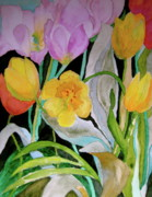Yello Paintings - Tulip Party by Beverley Harper Tinsley