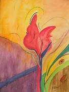 Purple Tulip Paintings - Tulip by Sandy  Silbert