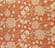Red Tapestries - Textiles Posters - Tulip wallpaper design Poster by William Morris