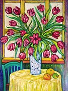 Window Art On Canvas Posters - Tulips   2 Poster by Gunter E  Hortz