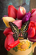 Magnificent Prints - Tulips and Butterflies Print by Edward Fielding