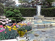 Tulips And Fountain Print by Terry Reynoldson