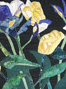 Art Quilts Tapestries Textiles Prints - Tulips and Irises Detail Print by Lynda K Boardman
