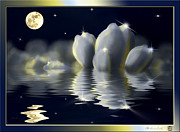 Contemplative Mixed Media - Tulips and Moon reflection by Peter v Quenter