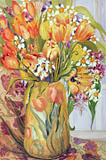 Tasteful Art Prints - Tulips and Narcissi in an Art Nouveau Vase Print by Joan Thewsey