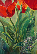 Red Art Tapestries - Textiles Framed Prints - Tulips and Pushkinia Framed Print by Anna Lisa Yoder