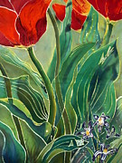 Red Tapestries - Textiles Posters - Tulips and Pushkinia Detail Poster by Anna Lisa Yoder