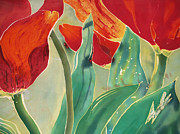 Red Tapestries - Textiles Posters - Tulips and Pushkinia Upper Detail Poster by Anna Lisa Yoder